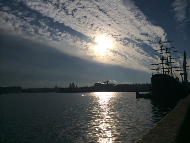 The Neva river and the ship that is really a gym