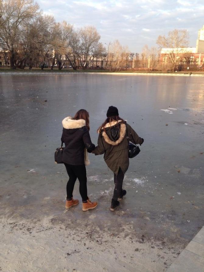 Braving the frozen lake
