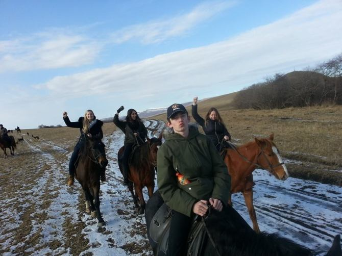 Horse riding in the Steppe