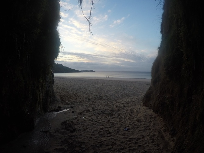 Exploring the beach caves
